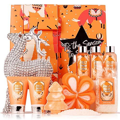 Bath Spa Set for Women,Spa Kit with Jolly Sugar Cookie Bath Body,Includes Reindeer Souvenir, Tree, Bath Bomb, Floral…