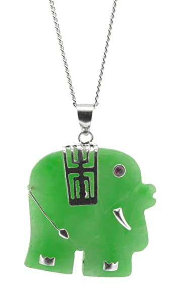 Silver jade elephant pendant with 16 silver chain amazon silver jade elephant pendant with 16quot silver chain aloadofball Gallery