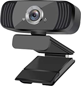 Webcam 1080P Full HD Web Cameras for Computers & Laptop with USB Webcam Live Streaming Webcam with Microphone Wide Screen HD Video Webcam 360-Degree Rotation Conference Study Video Calling (Black)