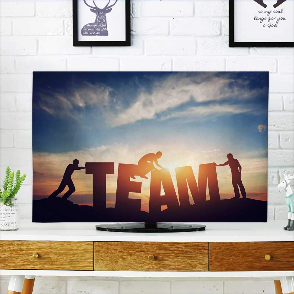 Analisahome TV dust Cover People Connect Letters to Compose The Team Word Teamwork Concept TV dust Cover W30 x H50 INCH/TV 52''