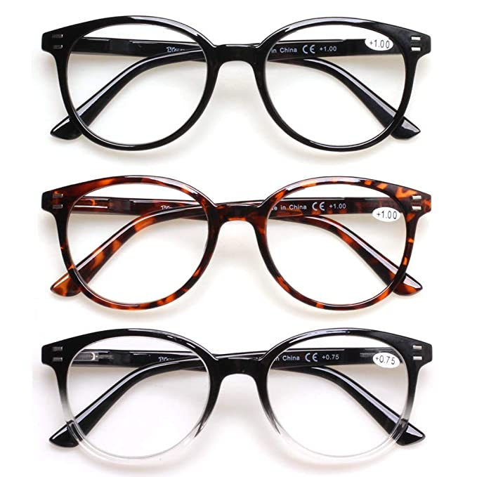 3 Pack Reading Glasses Spring Hinge Stylish Readers Black/Tortoise for Men and Women (3 Mix, 0.75)