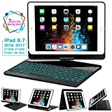 iPad Keyboard Case 9.7 for iPad 2018 (6th Gen) - 2017(5th Gen) - iPad Pro 9.7 - Air 2 & 1, 360 Rotate 7 Color Backlit Wireless/BT iPad Case with Keyboard, Auto Sleep Wake, 9.7 inch, Black