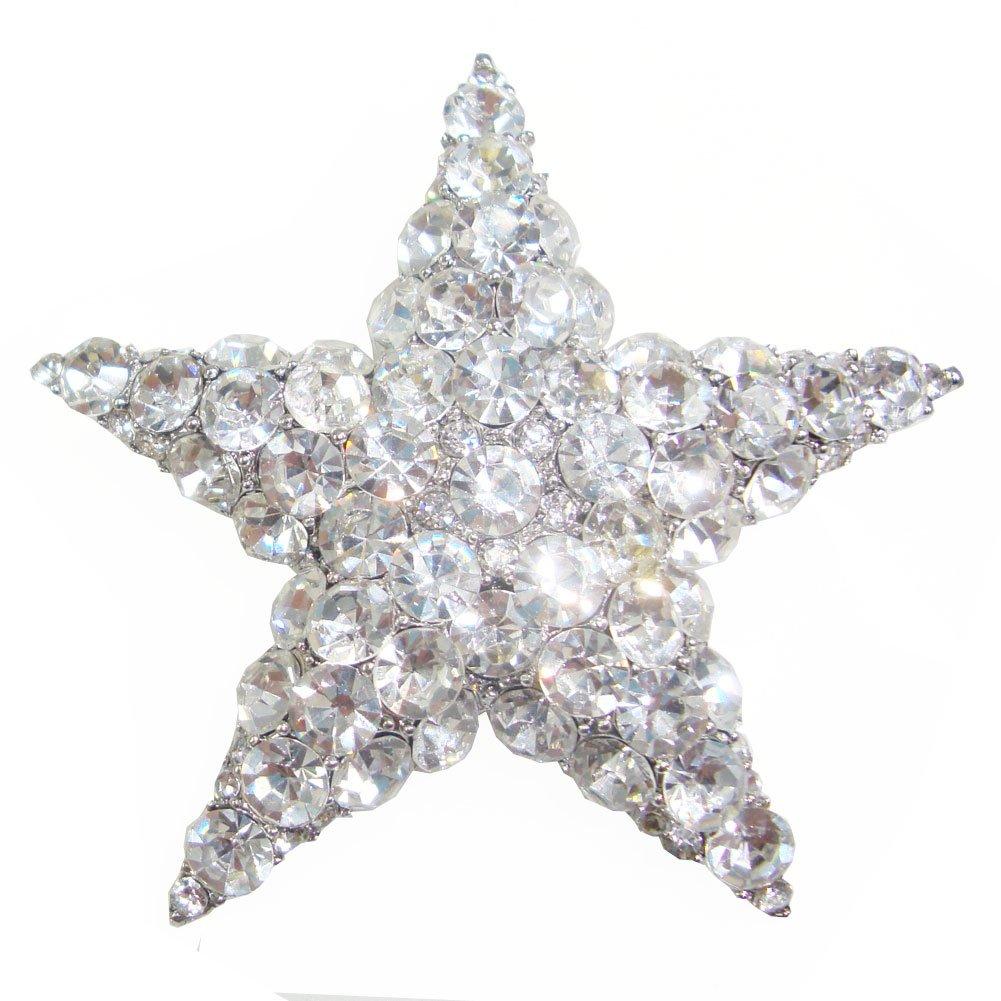 TTjewelry Wedding Bride Austria Crystal Clear Starfish Brooch Pin Bridal Star Jewelry