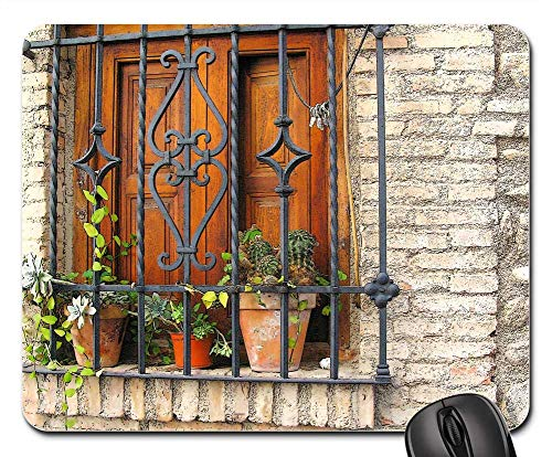 Mouse Pad - Picturesque South Granada Spain Potted Plants Grid