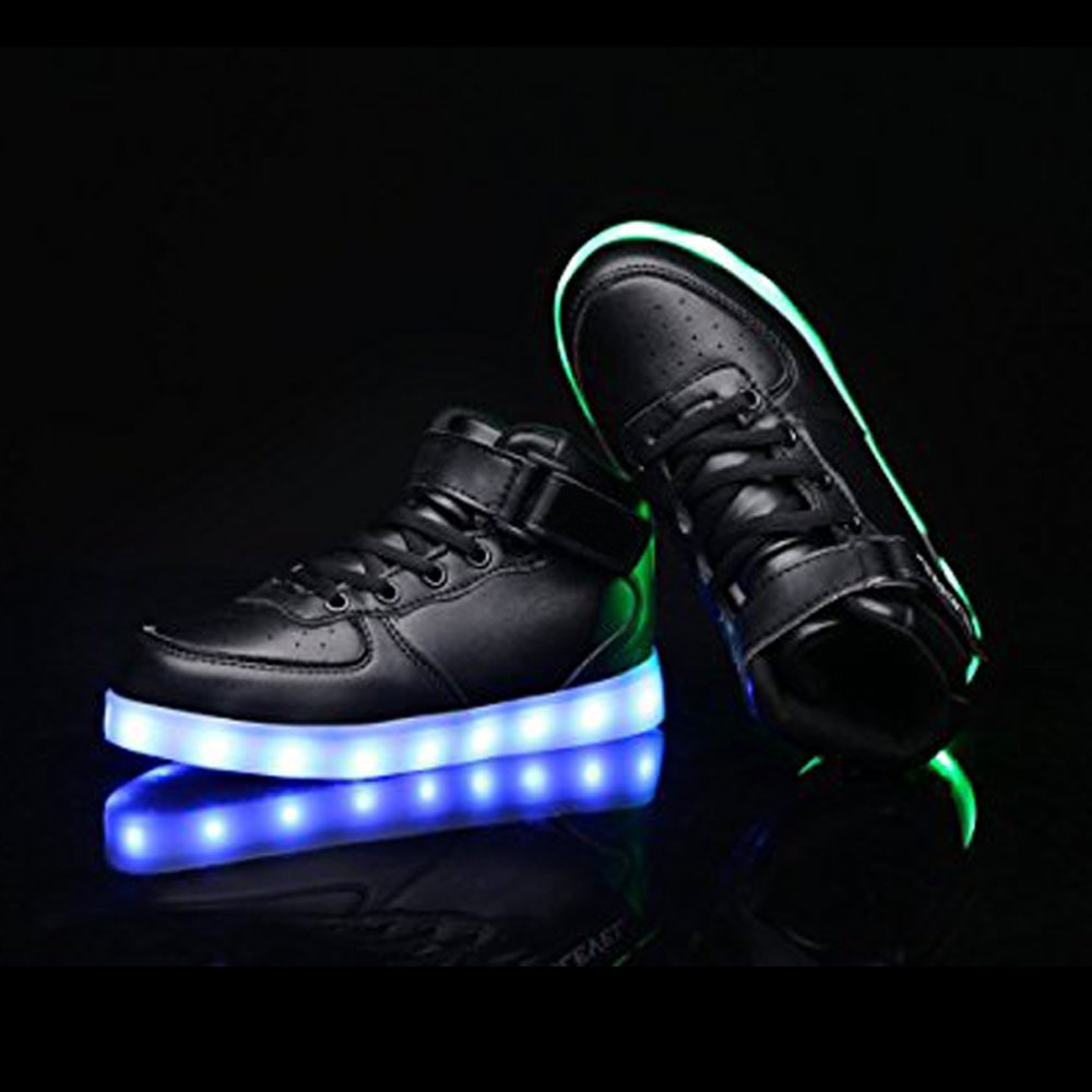 Toddler Little Big Kids Boy Girl USB Flashing LED Light Shoes Sneaker Heitx28