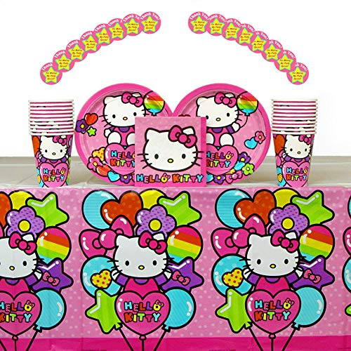 Hello Kitty Party Supplies Pack for 16 Guests: Stickers, Dessert Plates, Beverage Napkins, Cups, and Table -