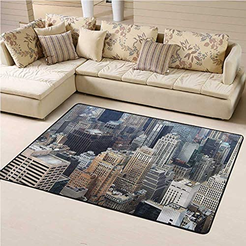Custom Rug New York for Kids Yoga Living Room Home Decor Rugs Aerial View American Town 6 x 9 Rectangle