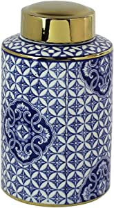 Sagebrook Home Blue And White Ceramic Jar, Gold Lid