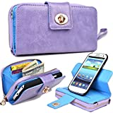 NuVur PU Leather Removable Icon Shell Case ::Wallet:: for Samsung Galaxy S4|Lavender