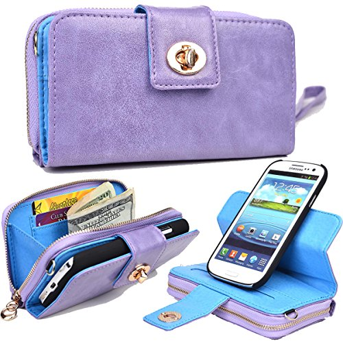 NuVur PU Leather Removable Icon Shell Case ::Wallet:: for Samsung Galaxy S4|Lavender by NuVur