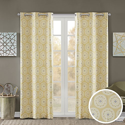 Comfort Spaces Printed Medallion Inka Window Foam Back Energy Saving Grommet Top Darkening Curtain Panel Pair for Bedroom Living Room and Dormitory, 63 inch, Yellow