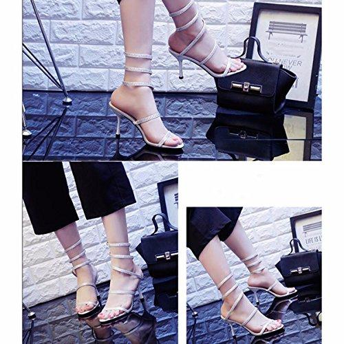 de couleuvre Talon de Torsion de avec Talons Forme Chaussures Femme Sandales Estivale L'Argent à Chaussures de Forage Argent de européenne à JRFBA fXpq7wyZ
