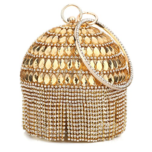 Women\'s Ball Shape Crystal Evening Clutch Purse Wedding Party Hand Bags Rhinestones Wallet with Tassels (Gold)
