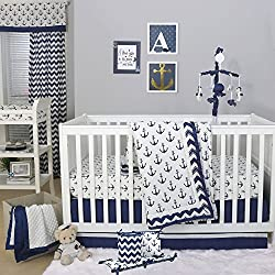 Anchor Nautical Boy's 5 Piece Baby Crib Bedding Set with Bumper by The Peanut Shell