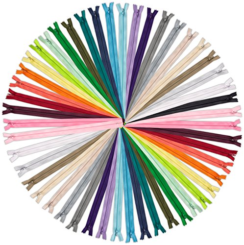 (ZipperStop Wholesale Authorized Distributor YKK Assortment of Colors YKK #3 Coil Zippers Mix of Colors (25 zippers, 14 inch) Made in USA)