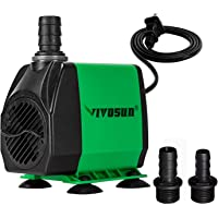 VIVOSUN 800GPH Submersible Pump(3000L/H, 24W), Ultra Quiet Water Pump with 10ft High Lift, Fountain Pump with 5ft Power…