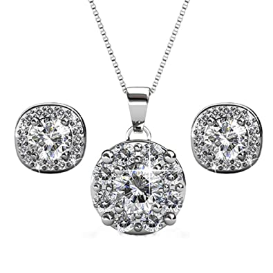 45eae46c7 Cate & Chloe Ruth Jewelry Set, Deals, 18k White Gold Pendant Necklace and  Stud