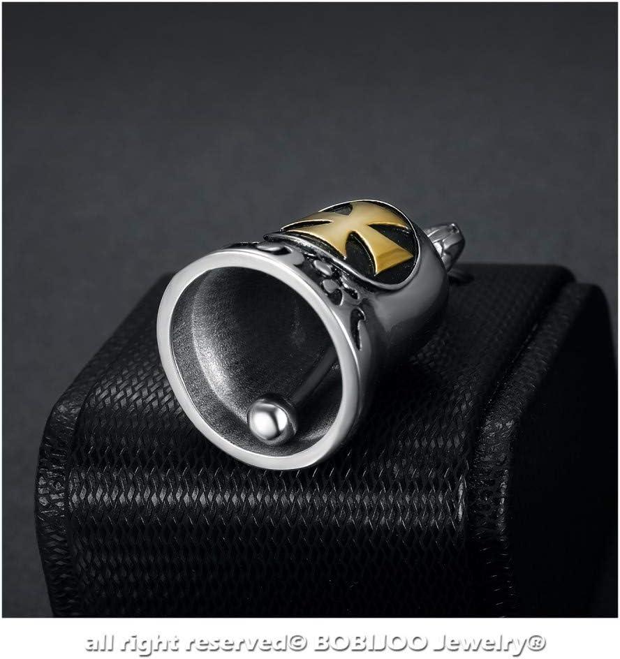 BOBIJOO Jewelry Clochette Porte-Bonheur Protection Motard Moto Acier 316L Croix Patt/ée Or Templier Biker