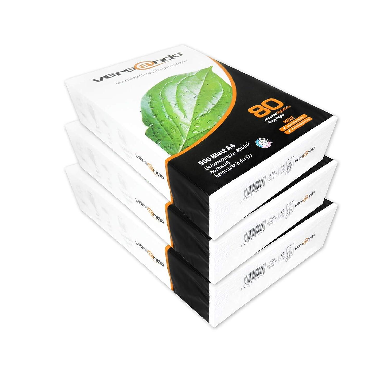 Versando V80A4802500, Papier extra Blanc DIN A4 80 g/m pour photocopieur/imprimante - Emballage standard (c) 2500 feuilles - Blanc