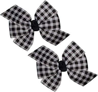 Black,White Tartan Bow. Beautiful  Baby Black// White Bobbles  With