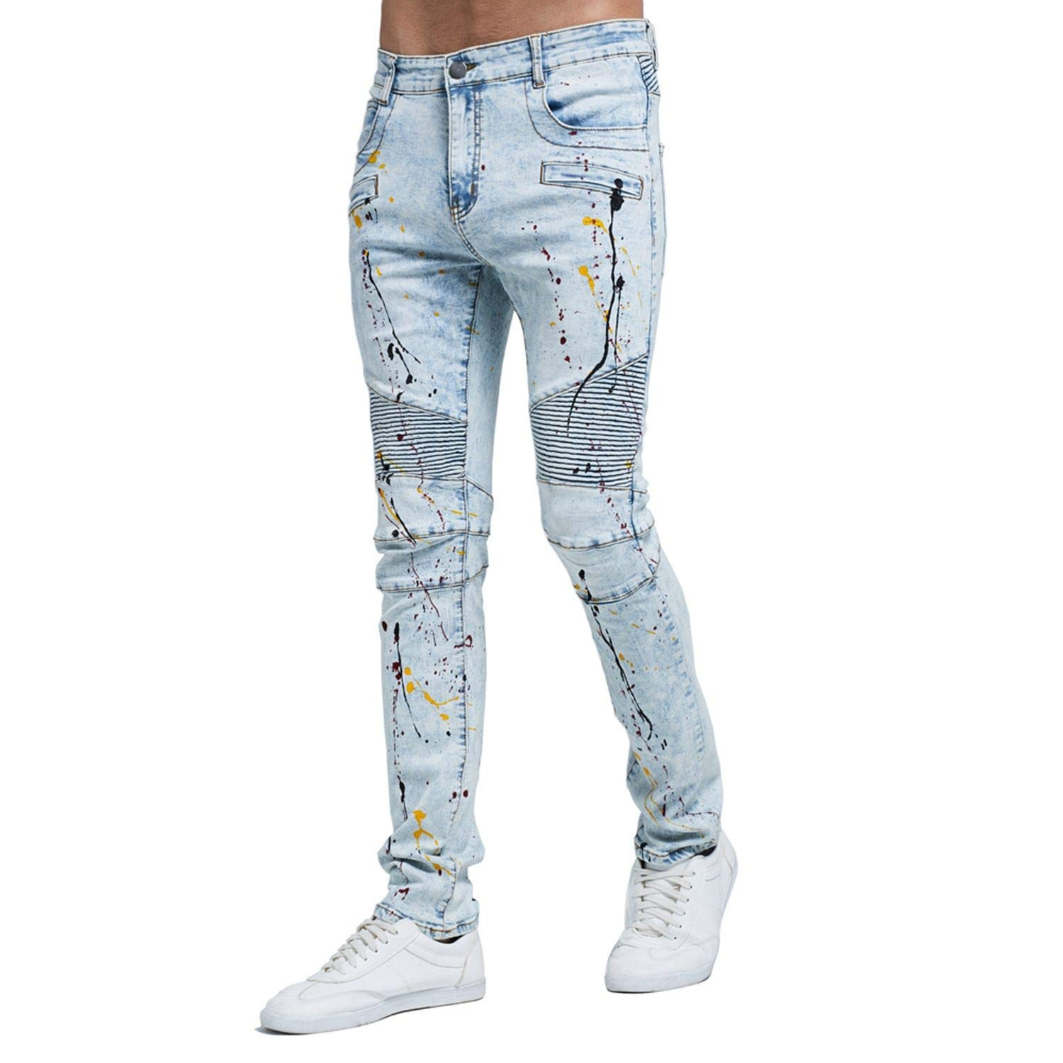 Frozac 2019 Men Fashion Biker Jeans Strech Light Blue Skinny Jeans H0114