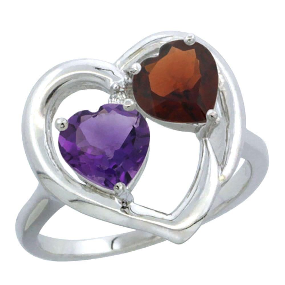 10K White Gold Diamond Two-stone Heart Ring 6mm Natural Amethyst & Garnet, size 8