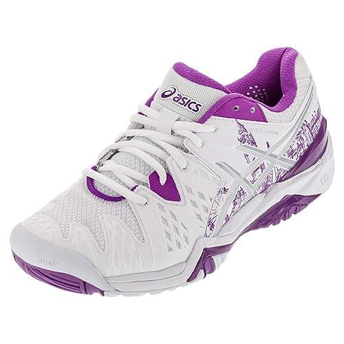 fb55f3ba8c55 ASICS GelResolution 6 L.E. London Womens Tennis Shoe 5 White-Silver-Purple