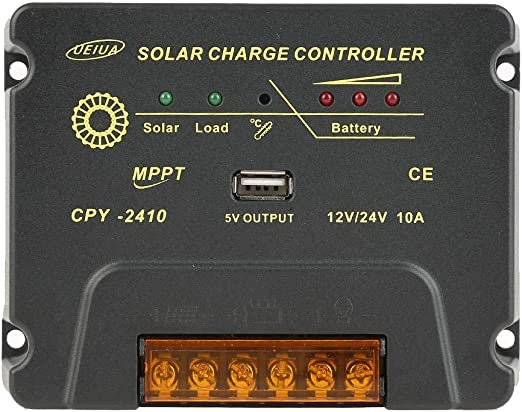 Y/&H MPPT 10A Solar Charge Controller for 12V//24V Battery Charger Regulator with USB Output Overload and Everse Polarity Protection