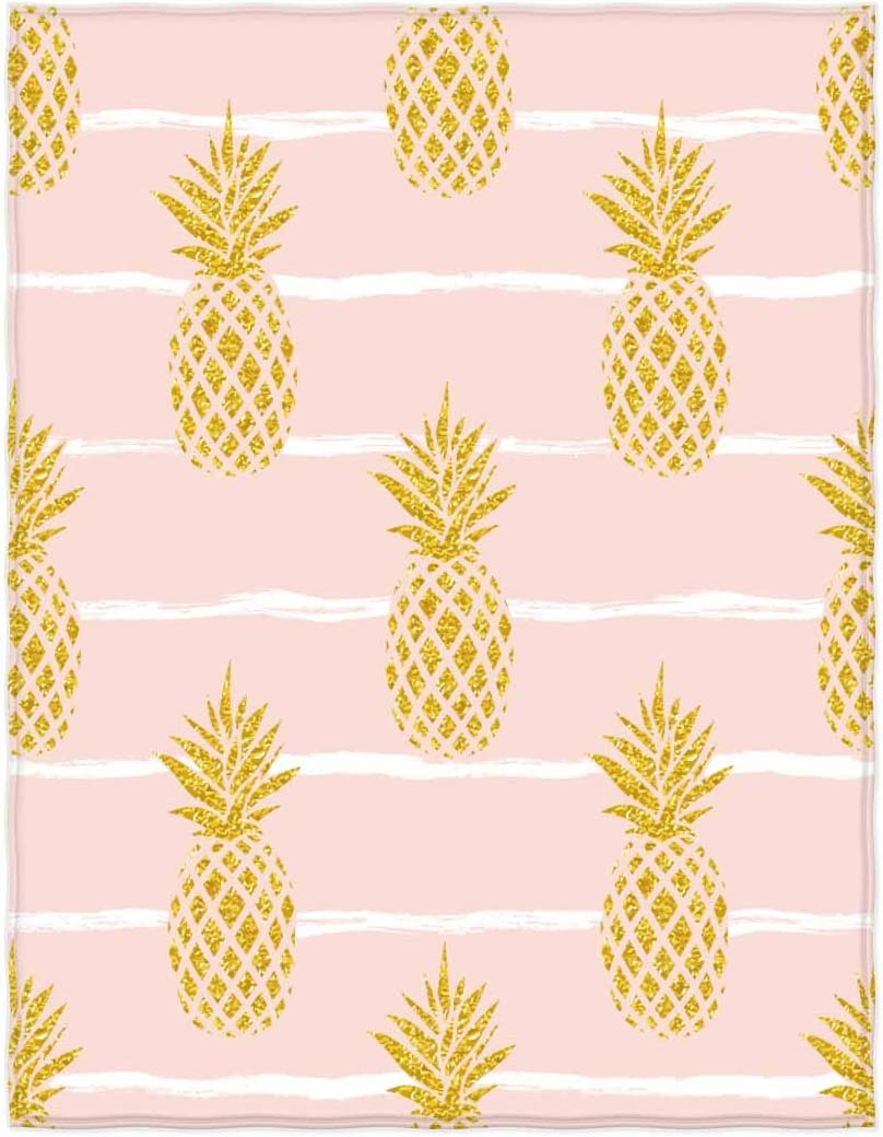 kasme 58 x 80 Inch Seamless Summer Gold Pineapple On Striped Background Soft Throw Blanket for Bed Couch Sofa Lightweight Travelling Camping Throw Size for Kids Boys Women All Season…
