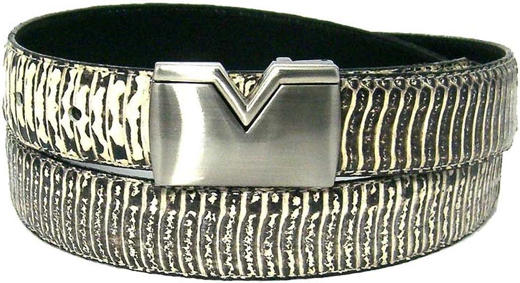 Mens Ivory 1.25 Wide Bonded Snakeskin Belt with Stylish Buckle