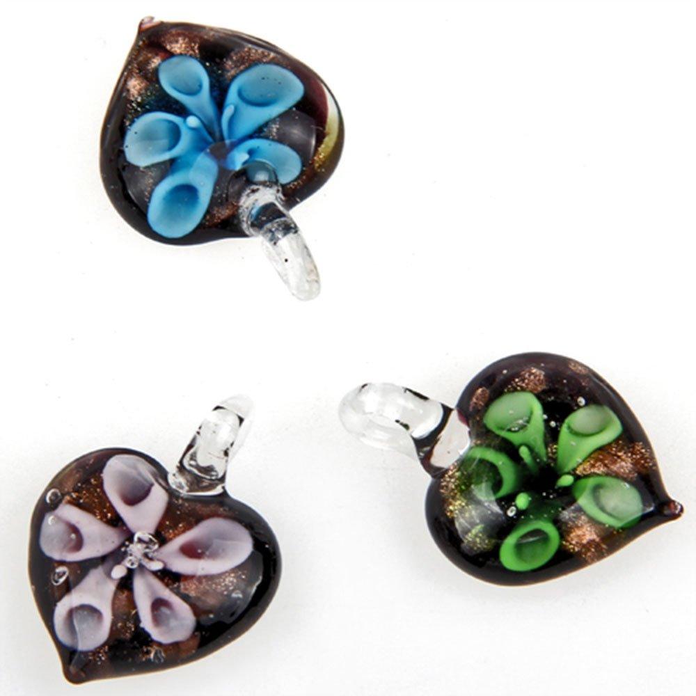 Skyllc® 6 Pieces Unique Heart-shaped lampwork glass pendant Fashion pendants 20-23mm