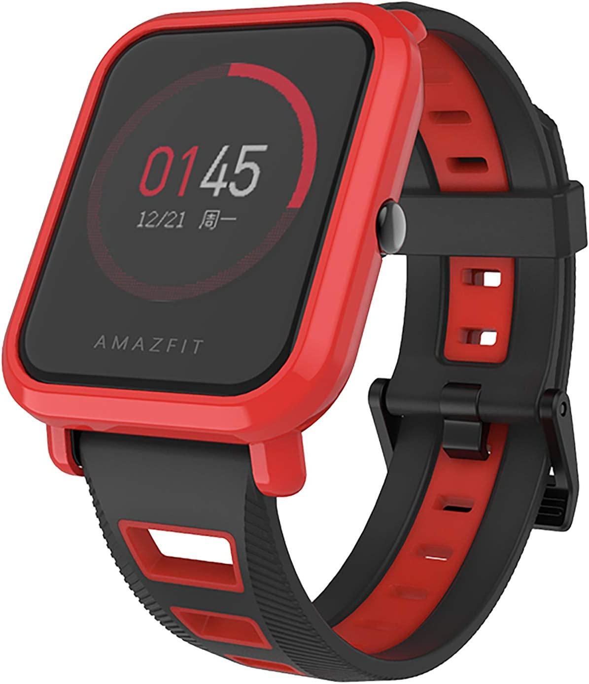 SenMore Correa para Xiaomi Amazfit Bip Younth - 20mm Silicona Pulsera Impermeable Correas de Repuesto para Galaxy Watch 42mm, Gear S2 Classic, Huawei Watch 2, Huami Amazfit Bip (20MM, 1PCS Blackred)