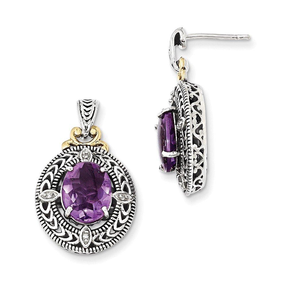 Sterling Silver w/14k Diamond & Amethyst Earrings, Diamond CTW 0.04 Gem CTW 4.32