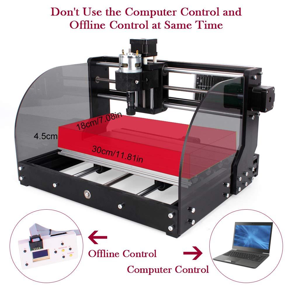 PCB 300 * 180 * 45 mm madera m/áquina de enrutador mini bricolaje CNC de 3 ejes grabador de pl/ástico con controlador fuera de l/ínea 【Versi/ón Actualizada】Fresadora CNC 3018 Pro Max