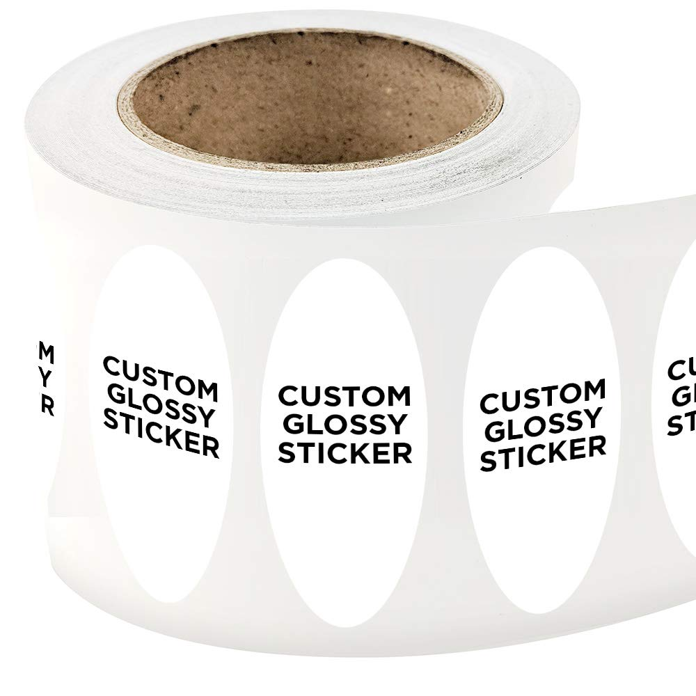 Amazon com 500 oval shape custom glossy roll label stickers 3 x 7 for products packaging bottles or events upload your own image logo