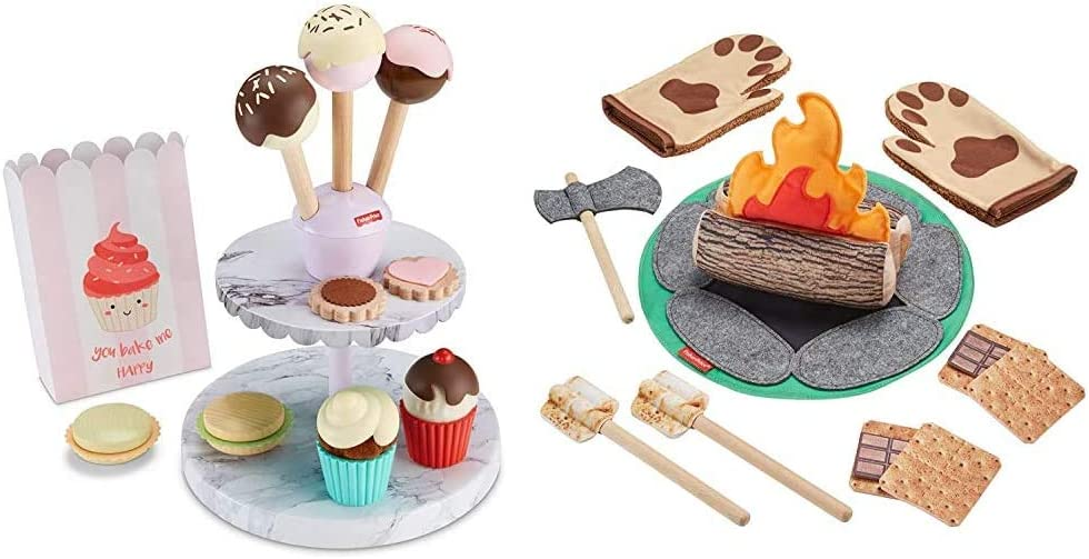 Fisher-Price Cake Pop Shop - 24-Piece Pretend Dessert Bakery Play Set with Real Wood & S'More Fun Campfire - 18-Piece Pretend Camping Play Set with Real Wood for Preschoolers Ages 3 Years & Up