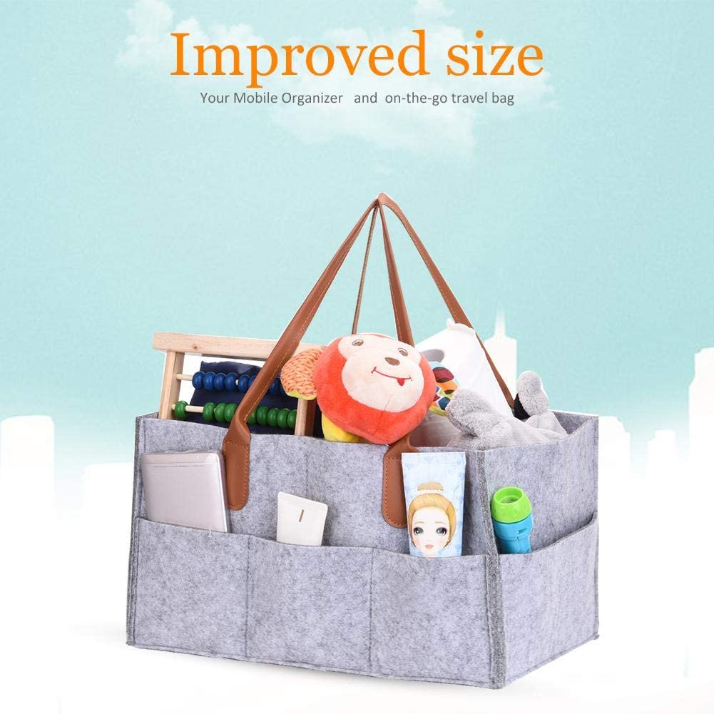 Baby Diaper Wipes Storage Bag Mammy Foldable Felt Caddy Organizer Children Toys Tote Portable Multipurpose Basket Gray for Mom Outdoor Travel