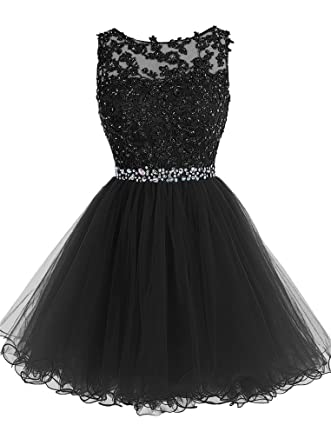 Womens Short Beaded Prom Dress Tulle Applique Homecoming Dresses (Black)