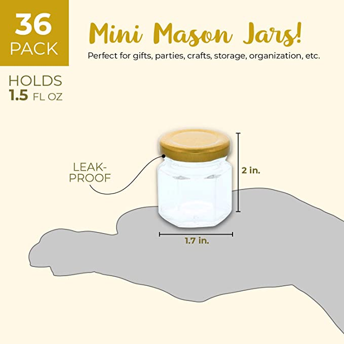 dc653eb9b6d2 Juvale 36-Pack Bulk 1.5 Ounce Mini Mason Jars With Gold Lids for Spices,  DIY Craft Gifts, Wedding and Baby Shower Party Favors