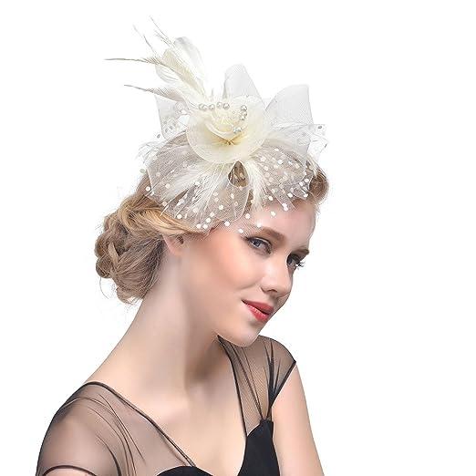 YCABJ Vintage Feather Flower Fascinator Hats Hair Clip Bridal Headpiece  (C-Beige) 59610196b877