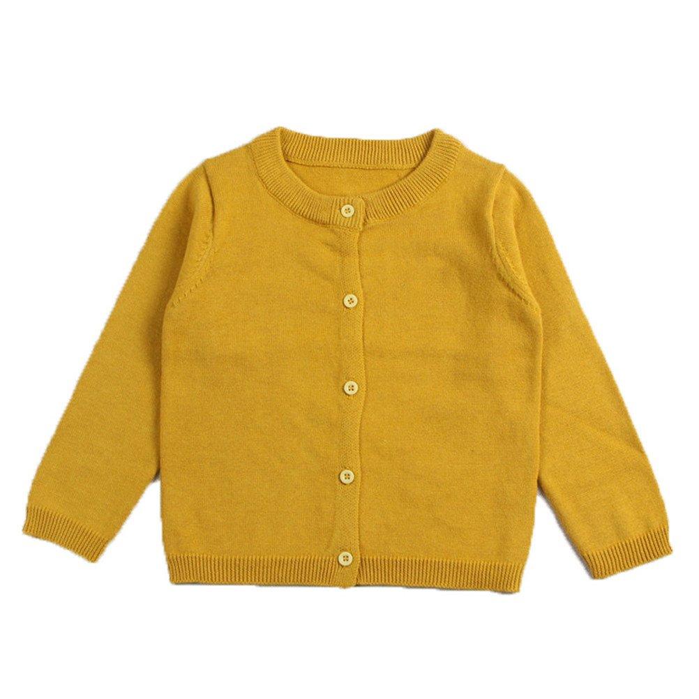 Always Pretty Little Girls' Uniform Cardigan Sweater Knit Solid Long Sleeves Coats Outwear Yellow 12-18M
