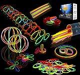 "JOYIN Glow Sticks Bulk 200 8"" Glowsticks (Total 456 PCs 7 Colors); Bracelets Glow Necklaces Glow-In-The-Dark Light-up Superbowl Party Supplies Pack."