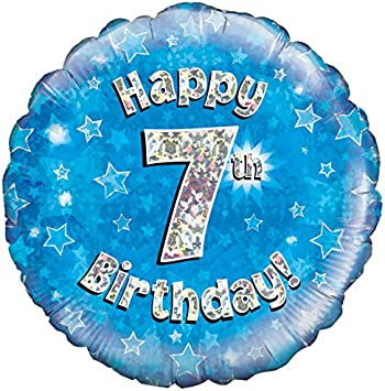 """Oaktree 18/"""" Happy 7Th Birthday Holographic Balloon Age 7 Party Decoration Blue"""