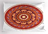 Ambesonne Animal Pillow Sham, Round Pattern with Elephants Meditation Faith Ethnic Tribal Inspired, Decorative Standard King Size Printed Pillowcase, 36 X 20 inches, Ruby Orange Cream Apricot