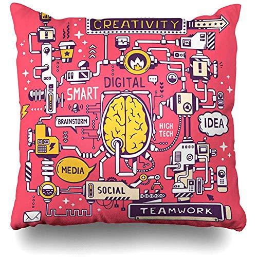 Throw Pillow Cover Pillows Cases Technology Creative Model Work Brain Center High Machine Social Process Graphic Idea Success Home Decor Design Square 18 x 18 Inch Zippered Cushion Case