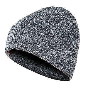 GLOUE Slouch Beanie Winter Ski Baggy Hat Unisex Various Styles Unisex Cuffed Plain Skull Beanie Toboggan Knit Hat/Cap (Black-Grey)