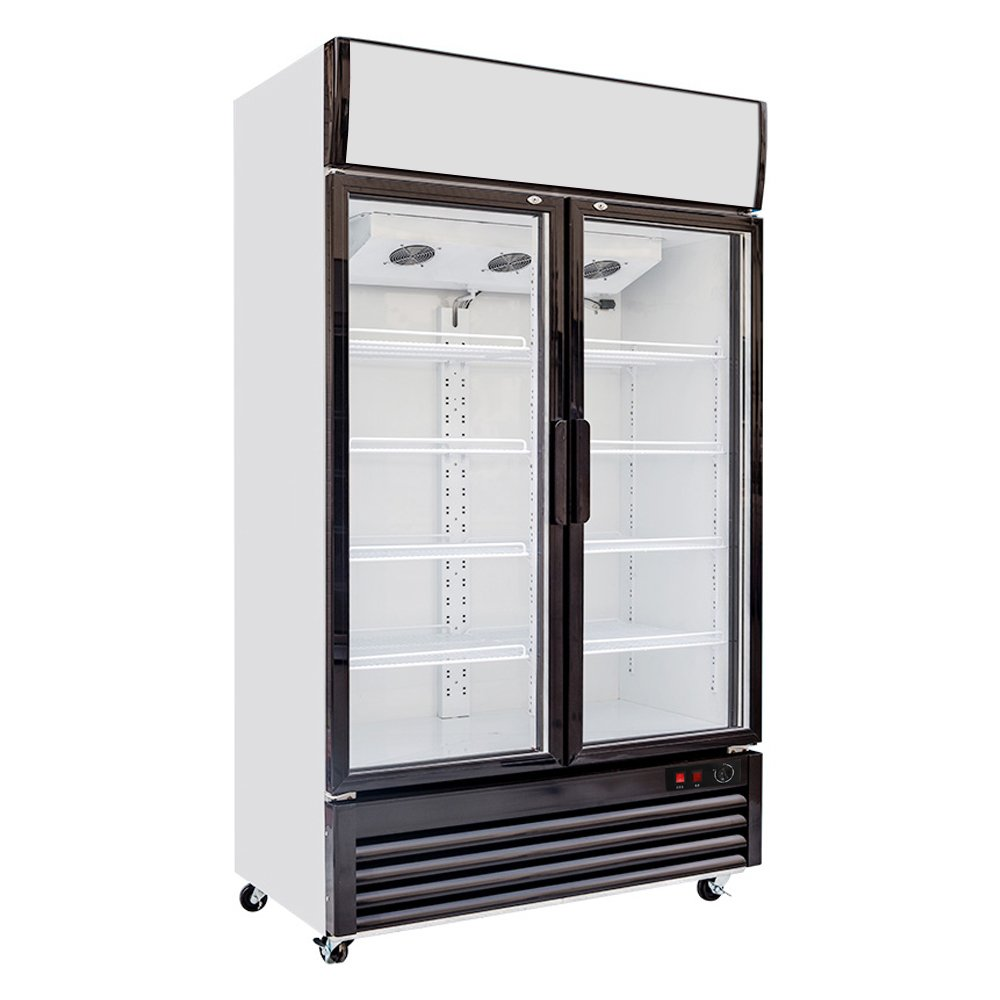 518L Glass Display Side by Side Pull Door Air Cooling Beer Soda Beverages Showcase Commercial Refrigerator Merchandise Ventilated Upright Cooler 18.3 cf. Cabinet