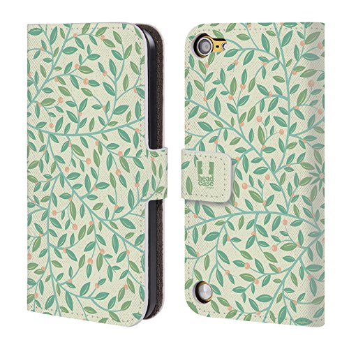 Head Case Designs Gentile Pattern Foglie 2 Cover a portafoglio in pelle per iPod Touch 5th Gen / 6th Gen