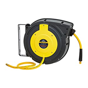 "AmazonCommercial Air Tool Hose Reel Water Retractable Polypropylene 3/8"" Inch x 50' Feet Premium Commercial Flex Hybrid Polymer Hose Max 300 PSI Heavy Duty Spring Driven Construction"
