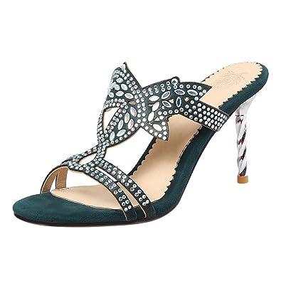 UH Damen High Heels Pantoletten Glitzer Peep Toe Sandalen mit Stiletto Party Abendschuhe